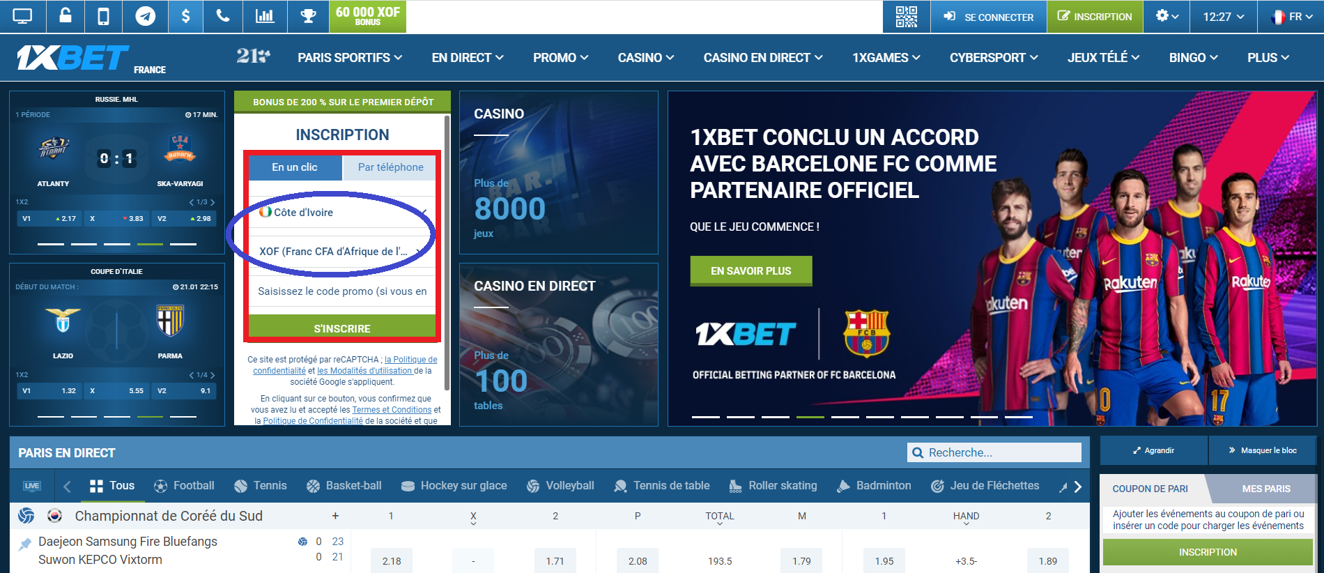 Comment créer un compte 1xBet en Côte d'Ivoire
